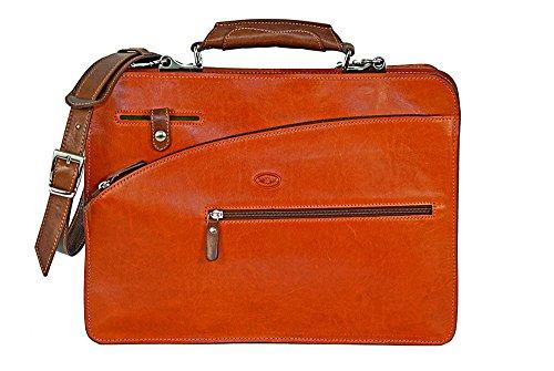 CUOIERIA FIORENTINA Cartella cuoio lavoro pelle Arancio/Bicolore - Made Italy