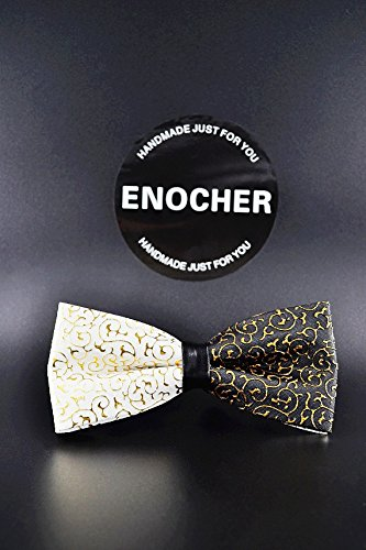 Black And White Double Layer Pu Leather Retro Patterns Bow Tie,Men Bow Tie, Self Tie Bow Tie,Gentleman, Business, Wedding, Party, Show,Gift