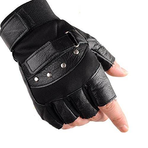 (KUYOMENS Men's Cycling Half Finger Genuine Leather Gloves)