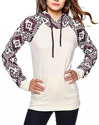 Womens Geometric Print Color Block Drawstring Hooded Sweatshirt Amazonco Uk Clothing