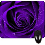 Purple Rose with Water Drops- Square Mousepad - Stylish, durable office accessory and gift