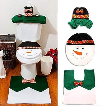 Ohuhu Christmas Snowman Toilet Seat Cover, Tank Cover, Toilet Paper Box Cover and Mat Set, Christmas Decoration Set, Green