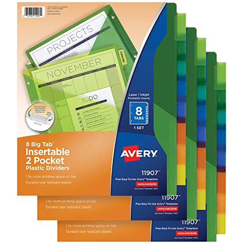 Avery 8-Tab Plastic Binder Dividers with Pockets, Insertable Multicolor Big Tabs, 3 Sets (11907) ()