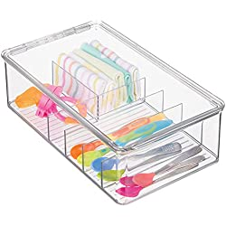 mDesign Baby Feeding Storage Box Organizer for Spoons, Forks, Bibs, Burping Towels - Divided, Clear