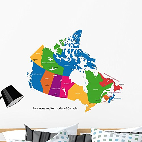 Colorful Canada Map with Wall Decal by Wallmonkeys Peel and Stick Graphic (36 in W x 31 in H) WM332327 Brunswick Mirror