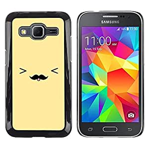 Be Good Phone Accessory // Dura Cáscara cubierta Protectora Caso Carcasa Funda de Protección para Samsung Galaxy Core Prime SM-G360 // yellow moustache smiley face emoticon