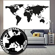 Wallpaper picture of world map black and white for mural decoration globe map of earth continents Atlas Map Global Map of the World I paperhanging poster wall decor by GREAT ART 210 x 140 cm / 82.7 x 55 Inch