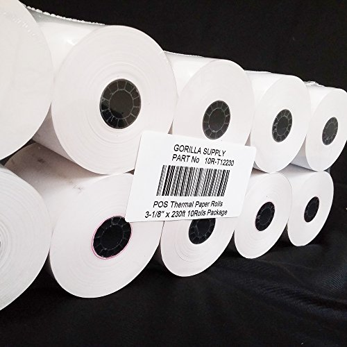 "Gorilla Supply Thermal Receipt Paper Rolls 3-1/8 x 230ft, 10 rolls Sealed Pack 2.8"" Diameter"