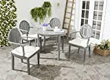 Safavieh Outdoor Living Collection Chino 4-Piece Dining Set, Ash Grey For Sale