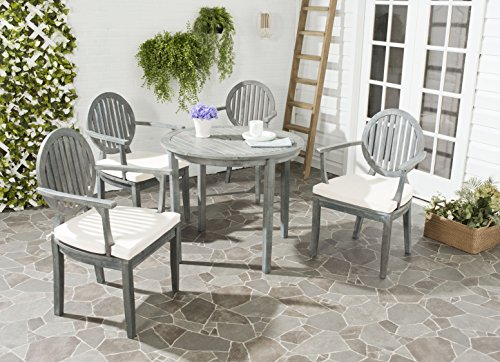 Ash Dining Set - Safavieh Outdoor Living Collection Chino 4-Piece Dining Set, Ash Grey