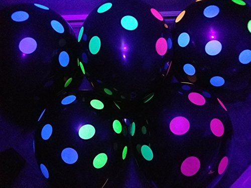 Blacklight Party Balloons - Black with Neon Polka Dots that Glow in the Dark under Blacklight - 25 Pack of 11 inch Latex Balloons -