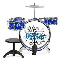 Bateria Mytoy Fiesta Band con bombo, dos tambores, platillo, panel, dos baquetas y banco -Azul