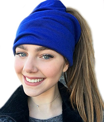 (Women's Slouchy Beanie with Hole (Royal Blue))