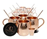 Set of 10 Pure Copper Moscow Mule Mugs by Mule Science with BONUS: Highest Quality Cocktail Copper 10 Straws, 2 Shot glasses and 10 coasters!