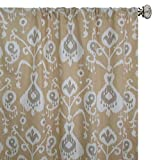 Pair of rod curtains 50'' wide panels Java barley taupe ivory tan gold yellow floral ikat window treatment nursery cotton drapes 84 96 108