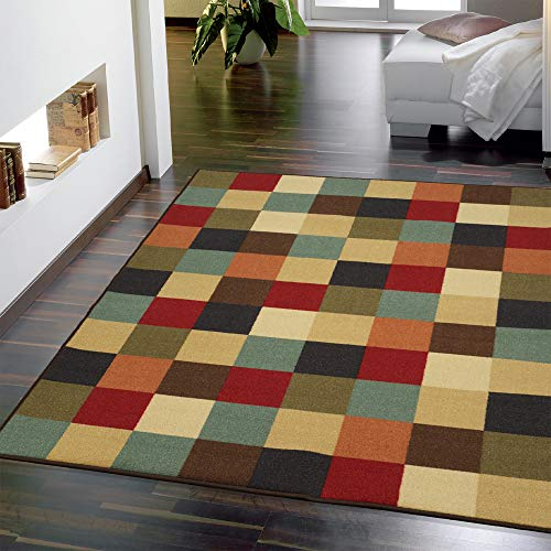 Ottomanson Boxes Ottohome Collection Contemporary Checkered Design Modern Area Rug Skid (Non-Slip) Rubber Backing, 5'0