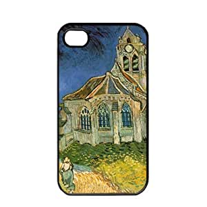 Vincent van Gogh oil painting The Church at Auvers Apple iPhone 4 / 4s TPU Soft Black or White case (Black)