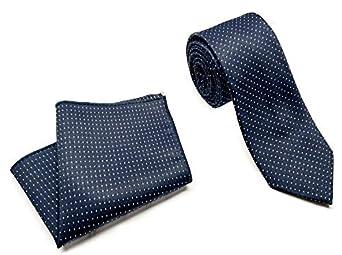 Luxeis Men Premium cotton silk Neck Tie and Pocket Square wodden Combo Gift Set in Premium Wooden Box(Navy Blue, Free Size)