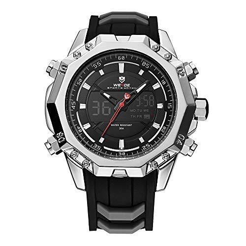 WEIDE Men Analog Sport LCD Digital Rubber Band Buckle Hardlex Calendar Auto Date Day Quartz Dual Time Display Silver Wristwatch -