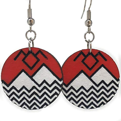 Twin Peaks Inspired Wood Dangle Earrings | Handmade Black Lodge Drop Earrings