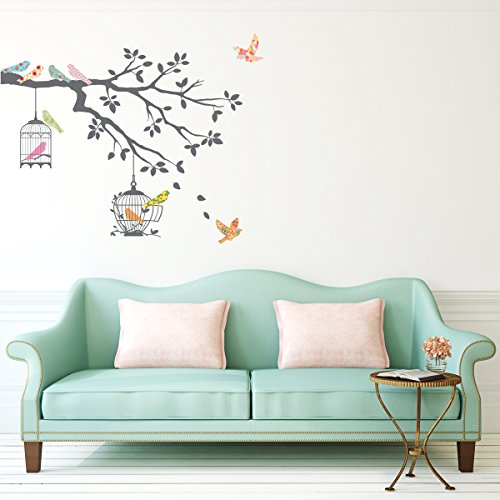 Decowall DW-1510 Birds on Tree Branch with Bird Cages Kids Wall Decals Wall Stickers Peel and Stick Removable Wall Stickers for Kids Nursery Bedroom Living Room (Grey)