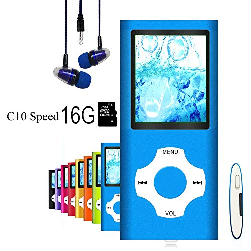 MP3 Player/MP4 Player, Hliwoynes MP3 Music Player with 16GB Memory SD card Slim Classic Digital LCD 1.82'' Screen MINI USB Port with FM Radio, Voice record (16GB-Blue-01-lx)