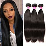 QinMei Brazilian Hair Straight 7A Grade 100% Unprocessed Virgin Human Hair 3 Bundles Weave Natural Color (10 12 14inches)