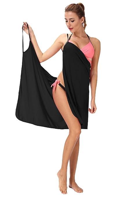 e2d52324f3 SAYFUT Women's Nylon V Neck Wrap Beach Spaghetti Straps Dress, One Size,  Black