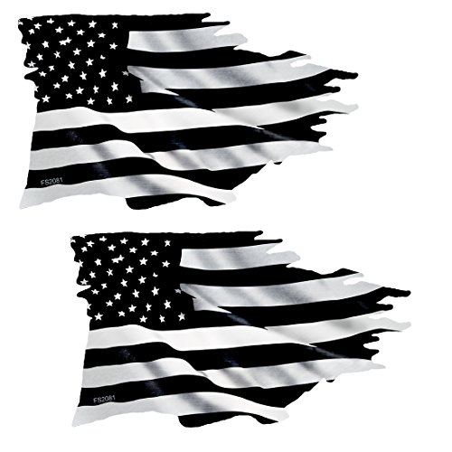 AZ House of Graphics Black & White TATTERED USA Flag Sticker