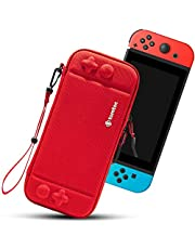 tomtoc Carry Case for Nintendo Switch, Ultra Slim Hard Shell with 10 Game Cartridges, Protective Carrying Case for Travel, Portable Pouch with Original Patent and Military Level Protection, Red