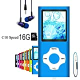 MP3 Player/MP4 Player, Hliwoynes MP3 Music Player with 16GB Memory SD card Slim Classic Digital LCD 1.82 Screen MINI USB Port with FM Radio, Voice record (16GB-Blue-01-lx)