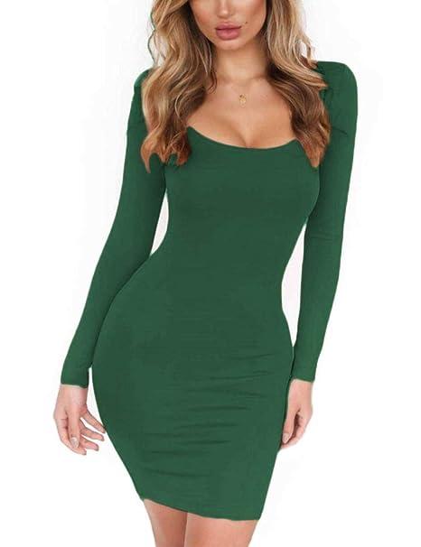 0c8a049137e Hioinieiy Women s Low Cut Long Sleeve Bodycon Short Dress at Amazon Women s  Clothing store