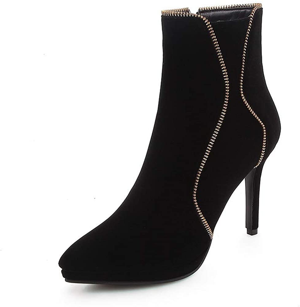 AN Womens Spikes Stilettos Pointed-Toe Imitated Suede Boots DKU02561