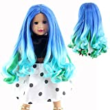 STfantasy American Girl Doll Wigs Ombre Blue Green Long Curly Wavy Hairpiece for 11'' Head