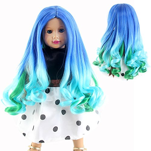 STfantasy American Girl Doll Wigs Ombre Blue Green Long Curly Wavy Hairpiece for 11