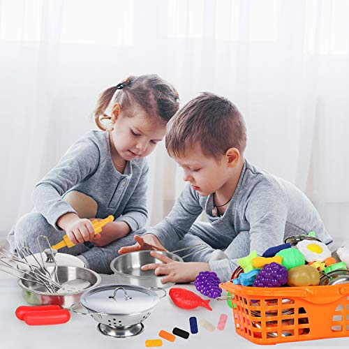 JoinJoy Play Kitchen Accessories 40 PCS, with Clay & Dough Set, Play Food Stainless Steel Cookware Kitchen Toys for Kids Girls Boys Toddlers