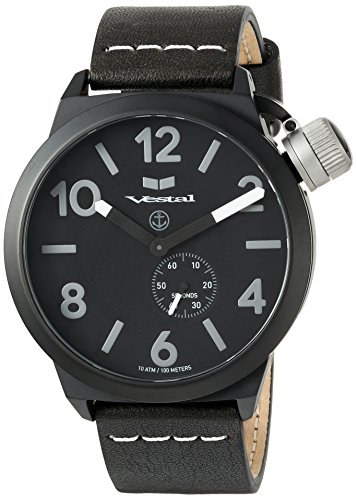 Vestal Quartz Stainless Steel and Leather Dress Watch, Color:Black (Model: CNT453L06.BKWH)