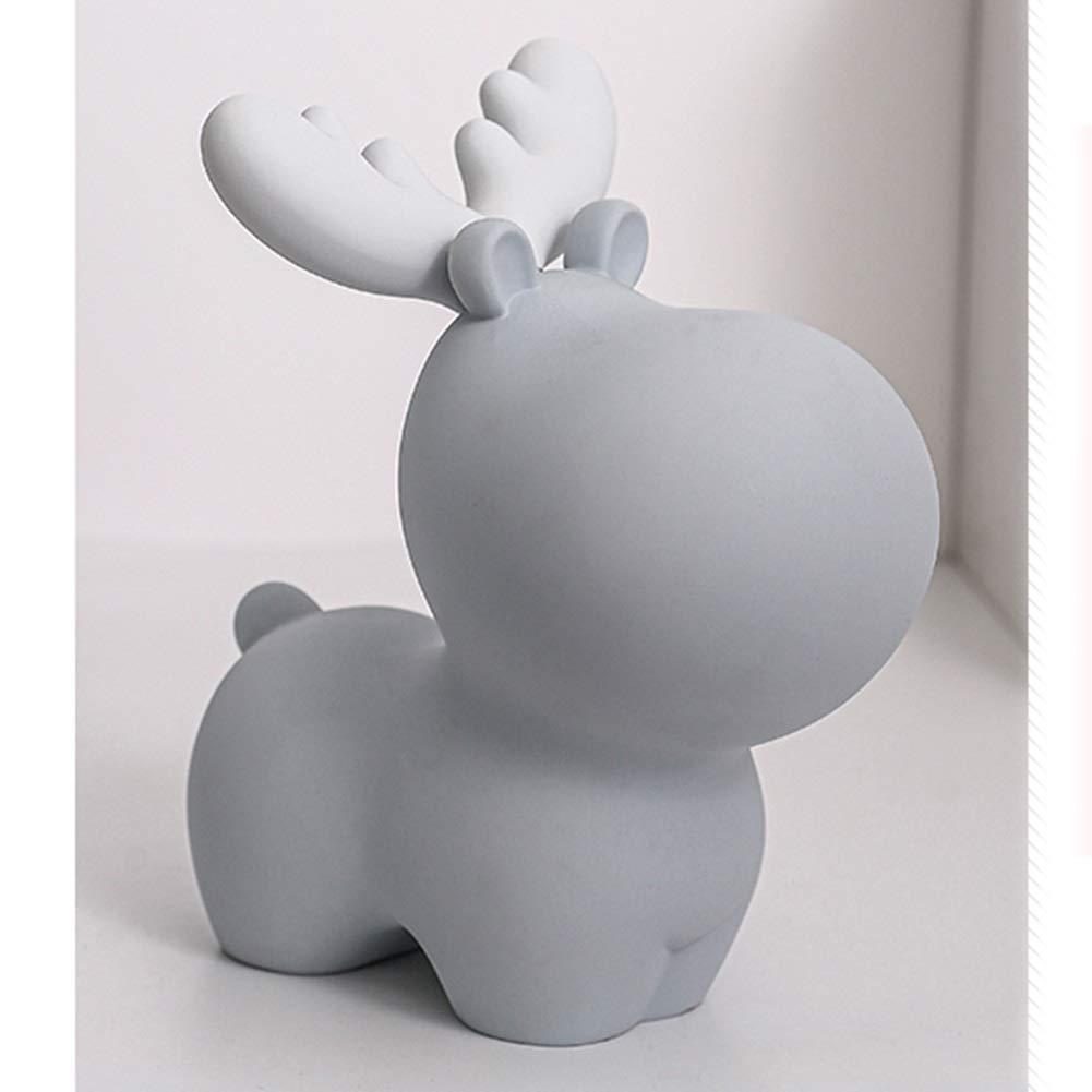 Deer Piggy Bank Creative Cute Children Coin Ornament Piggy Bank Birthday Gift Color : Blue, Size : M