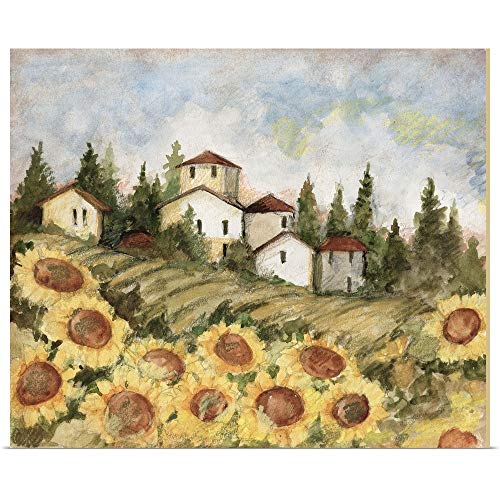 GREATBIGCANVAS Poster Print Entitled Tuscan Sunflower Landscape by Susan Winget 12