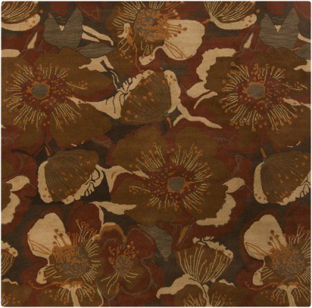 Surya Athena ATH-5102 Transitional Hand Tufted 100% Wool Sepia 2'6'' x 8' Floral Runner by Surya