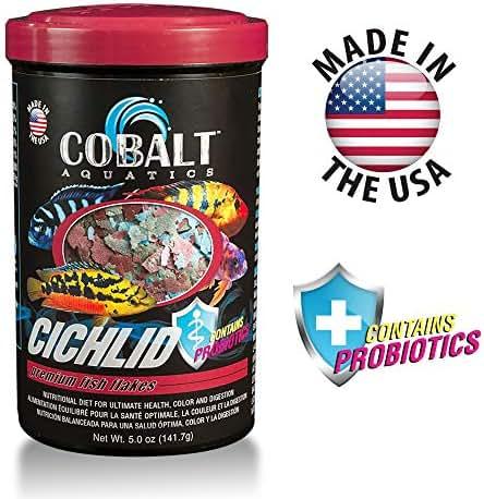 Cobalt Aquatics Cichlid Fish Food Flakes with Probiotics