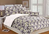 Marlo Lorenz 4896 French Collage Microplush Comforter Set, Black/Silver/Purple, Twin