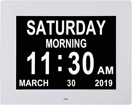 Digital Calendar Day Clocks Extra Large Non-Abbreviated Day Month.Perfect for Seniors Impaired Vision Dementia White,8-inch