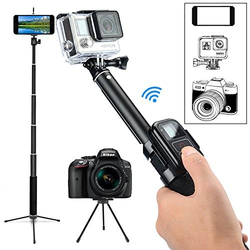 GreatCool Pole Selfie Stick with Flexible Tripod Accessories for GoPro Fusion Hero 6 5 4 3 2,Action Camera,iPhone 8 Plus 7 6 5 Phone and SLR SJCAM AKASO Camk EKEN APEMAN FITFORT DBPOWER Action Camera