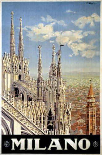 VINTAGE MILANO MILAN ITALY TRAVEL A2 POSTER PRINT