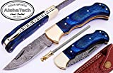 AishaTech Cub Scouts Lock blade Pocket Knife Damascus Steel Blade Brass Bolster With Sharpening Rod Prime Quality Blue Wood handle Review