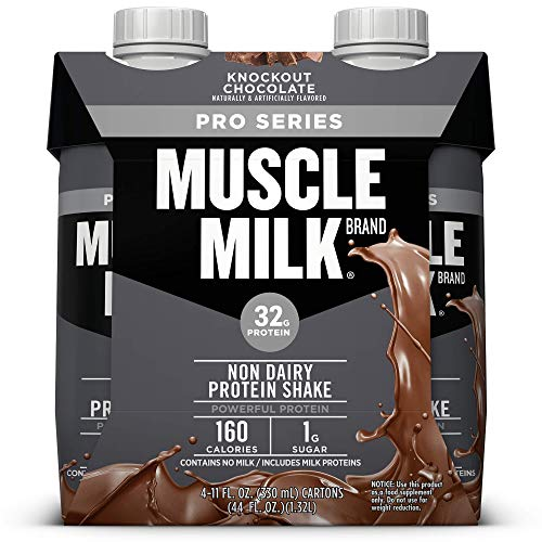 Muscle Milk Pro Series Non-Dairy Protein Shake, Knockout Chocolate, 32g Protein, Ready to Drink, 11 fl. oz., 4-count