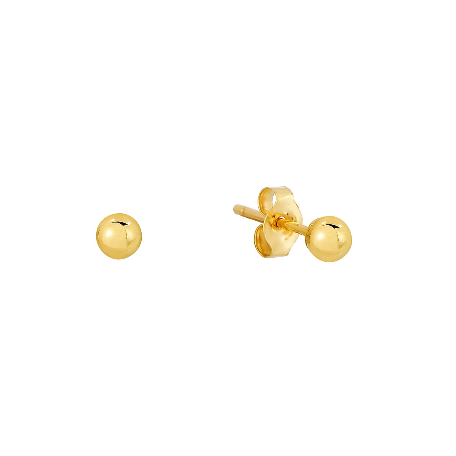 14k Yellow Gold Ball Stud Earring with Gold Butterfly Pushbacks YGB-BB