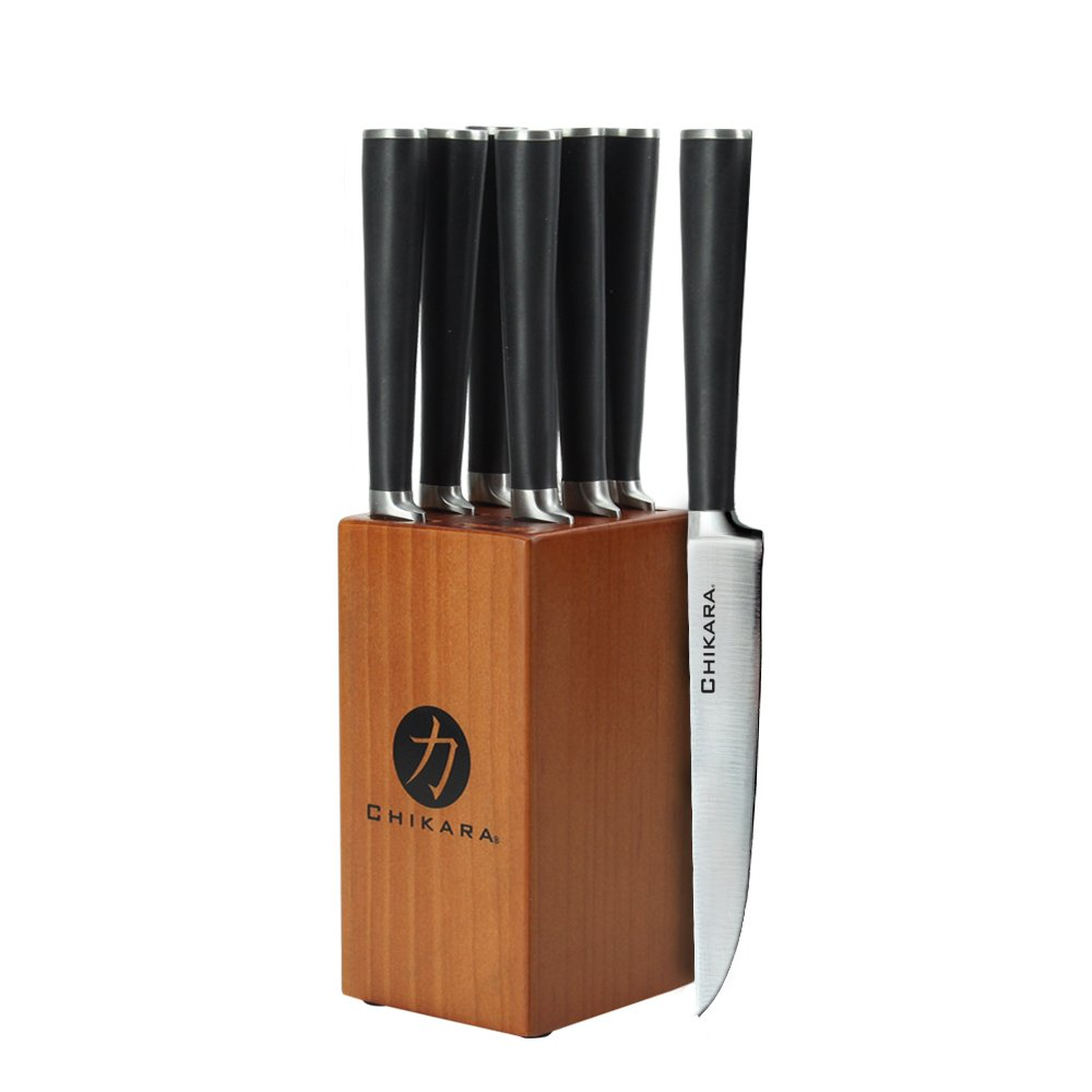 Ginsu 07134 Chikara Signature Series 9 Piece Forged Steak Set, Toffee Block COK-KB-DS-009-3