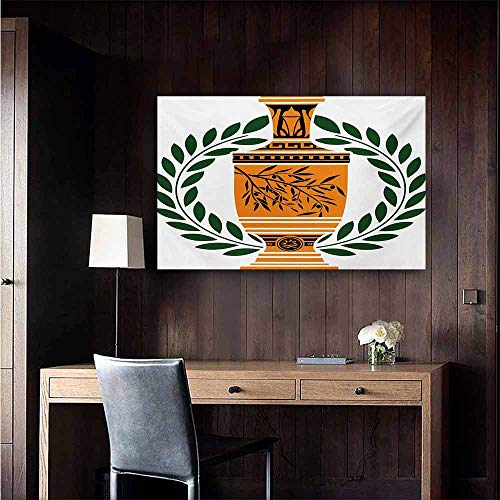 duommhome Toga Party Art Oil Paintings Old Antique Greek Vase with Olive Branch Motif and Laurel Wreath Canvas Prints for Home Decorations 35